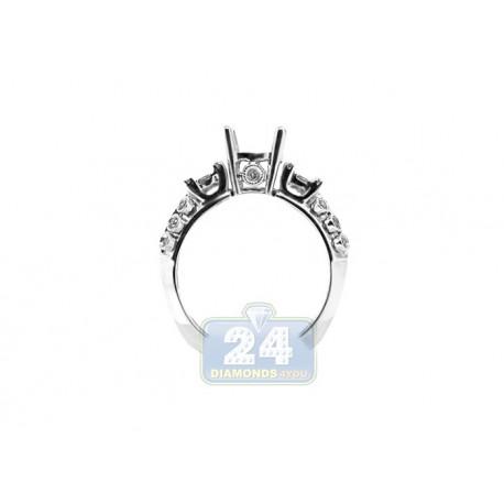 14K White Gold 0.33 ct Round Cut Diamond Engagement Ring Setting
