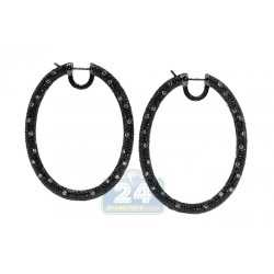 18K Gold 15.11 ct Black White Diamond Oval Hoops Womens Earrings 2 1/4 Inches