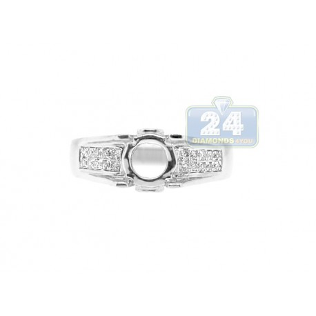 14K White Gold 0.15 ct Diamond Engagement Ring Setting