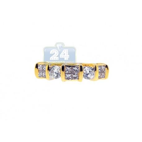 14K Yellow Gold 1.14 ct Mixed Diamond Womens Band Ring