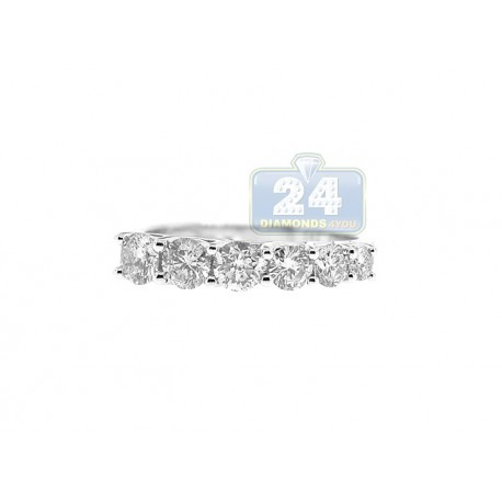 14K White Gold 1.20 ct 6-Stone Diamond Womens Band Ring