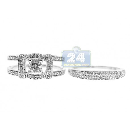 14K White Gold 1.13 ct Diamond Engagement 2 Ring Set
