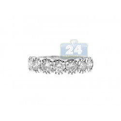14K White Gold 1.37 ct Diamond Womens Band Ring