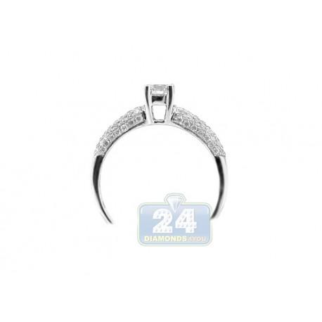 14K White Gold 0.81 ct Diamond Pave 4 Prongs Engagement Ring