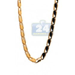 Yellow Gold Plated Stainless Steel Mens Link Chain 36 Inches