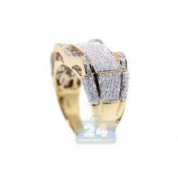 10K Yellow Gold Mens 1.03 ct Diamond Signet Ring