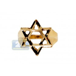 10K Yellow Gold Star of David Mens Signet Ring