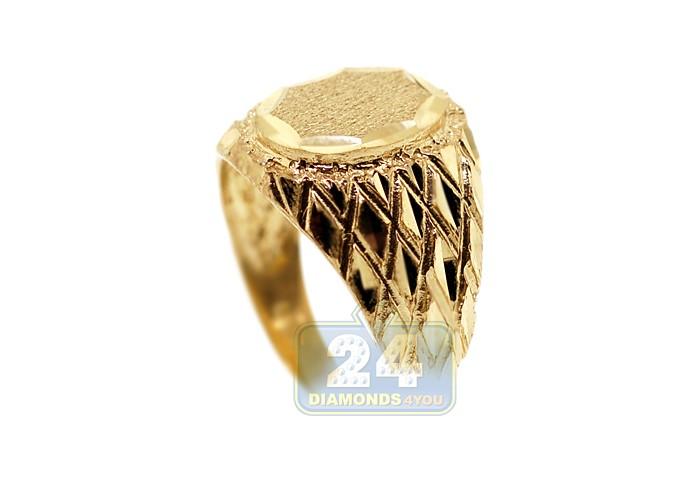 10k Yellow Gold Diamond Cut Mens Oval Signet Ring
