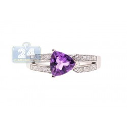 14K White Gold 0.88 ct Amethyst Diamond Womens Ring