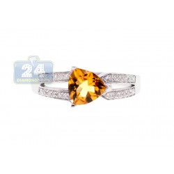 14K White Gold 0.85 ct Citrine Diamond Womens Ring