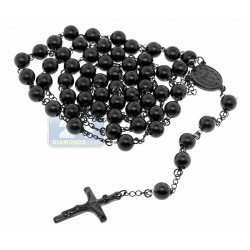 Black PVD Stainless Steel Mens Rosary Necklace 22 1/2 Inches