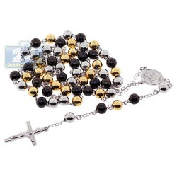 Three Tone Stainless Steel Mens Rosary Necklace 23 Inches