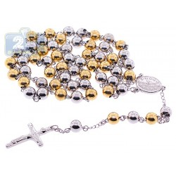 Two Tone Stainless Steel Mens Rosary Necklace 22 1/2 Inches