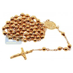 Stainless Steel Gold Plated Mens Rosary Necklace 20 7/8 Inches