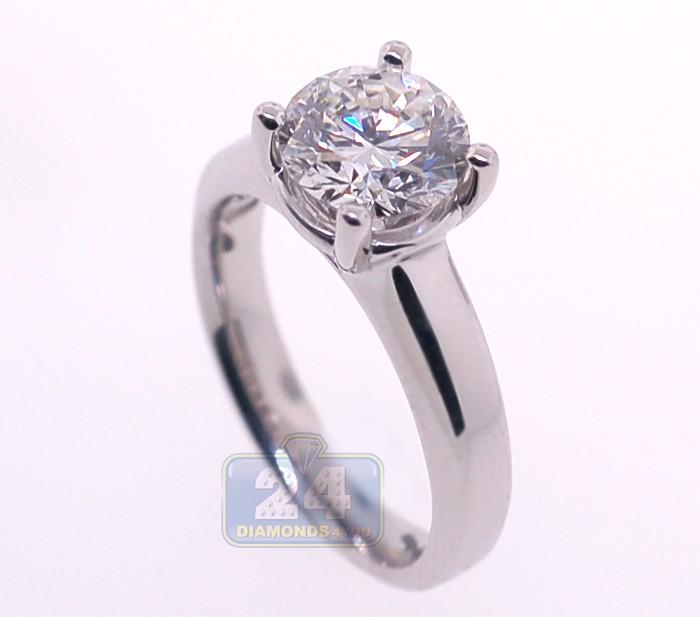 GIA Platinum 2 01 ct Round Cut Diamond Womens Engagement Ring