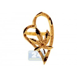 10K Yellow Gold Womens Marijuana Leaf Heart Ring