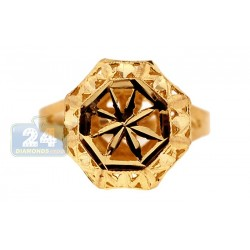10K Yellow Gold Womens Woven Diamond Cut Signet Ring