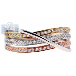 14K Three Tone Gold 0.32 ct Diamond Womens Band Ring