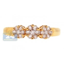 14K Yellow Gold 0.34 ct Diamond Womens Flower Band Ring