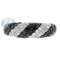 14K White Gold 2.25 ct Diamond Womens Dome Zebra Band Ring