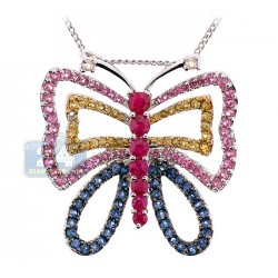 14K White Gold 2.19 ct Multi-Gemstone Diamond Butterfly Pendant