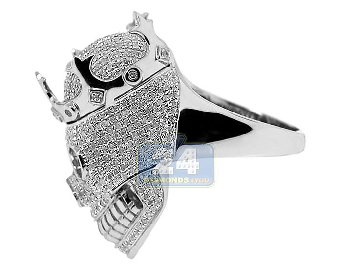 925 sterling silver 2 75 ct white mens skull ring
