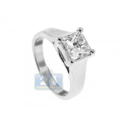 GIA Platinum 1.75 ct Princess Cut Diamond Womens Engagement Ring