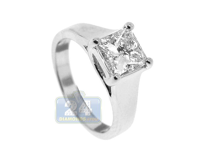 GIA Platinum 1 75 ct Princess Cut Diamond Womens Engagement Ring