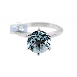 14K White Gold 2.86 ct Aquamarine Solitaire Engagement Ring