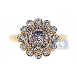 14K Yellow Gold 1.76 ct Diamond Womens Flower Cluster Ring
