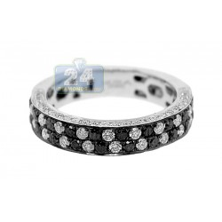14K White Gold 1.25 ct White Black Diamond Womens Band Ring