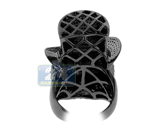 mens black pvd skull ring 925 sterling silver 3 ct