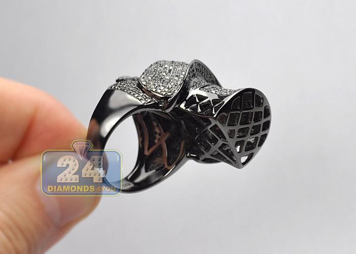 black pvd 10k gold 3 40 ct mens skull ring