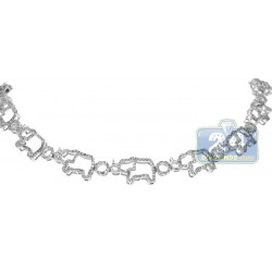 14K White Gold 2.55 ct Diamond Elephant Bracelet 7 1/2 Inches