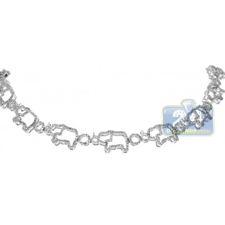 14K White Gold 2.55 ct Diamond Elephant Bracelet 7 1/2 Inches