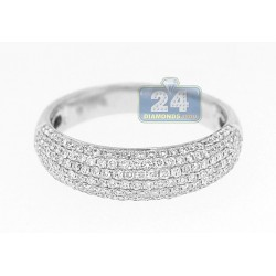 14K White Gold 0.77 ct Diamond Womens 6 mm Wide Band Ring