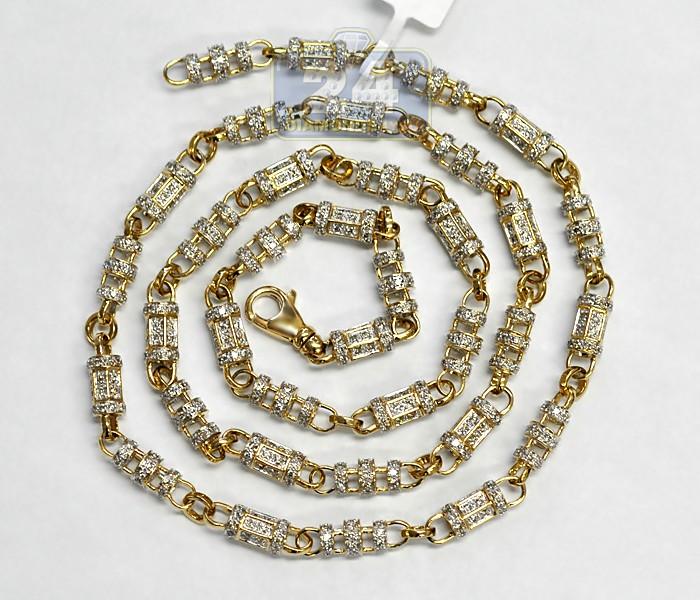 14k Yellow Gold 12 47 Ct Diamond Mens Chain 6 Mm 29 1 2 Inches