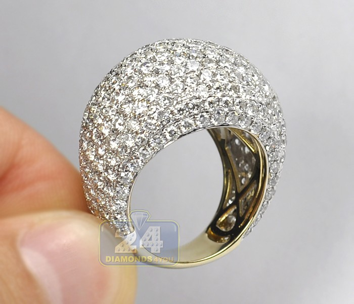 14k Yellow Gold 8 96 Ct Diamond Pave Womens Dome Ring