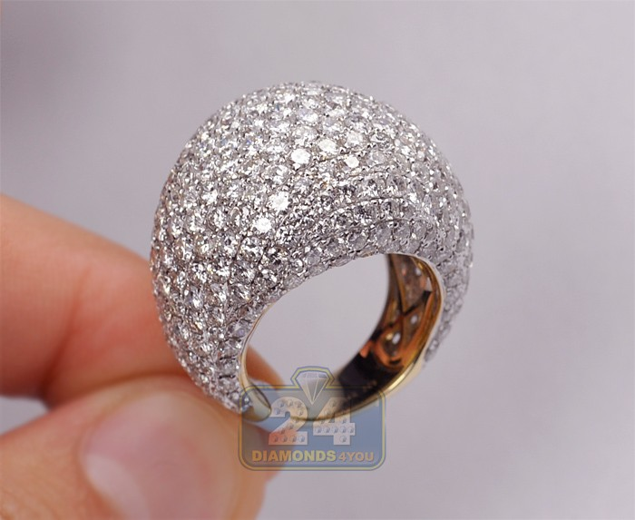 14k Yellow Gold 12 84 Ct Diamond Pave Womens Dome Ring