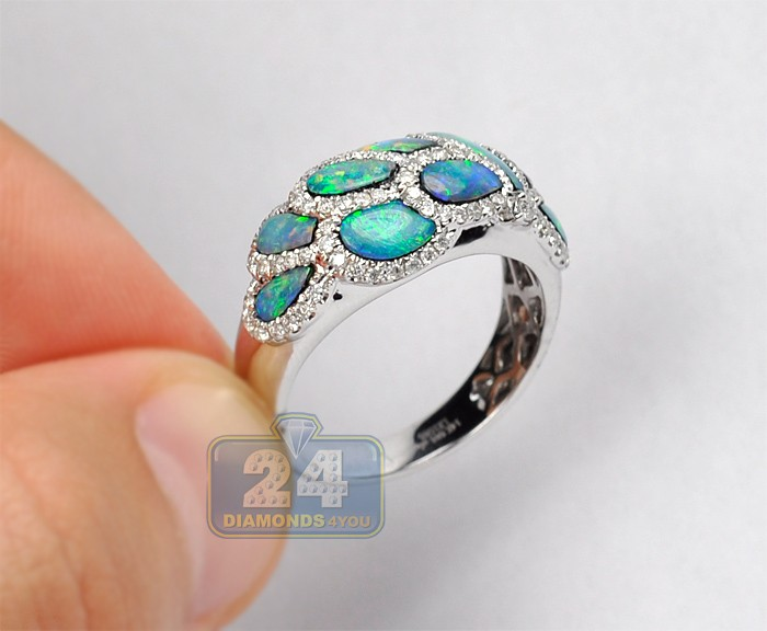 womens diamond opal band ring 14k white gold ct. Black Bedroom Furniture Sets. Home Design Ideas