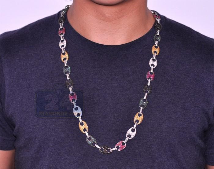 14k White Gold 23 80 Ct Multicolor Diamond Mens Link Chain