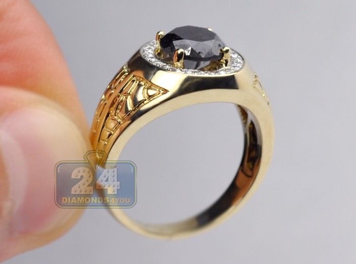14k Yellow Gold 2 45 Ct Black Diamond Mens Pinky Ring