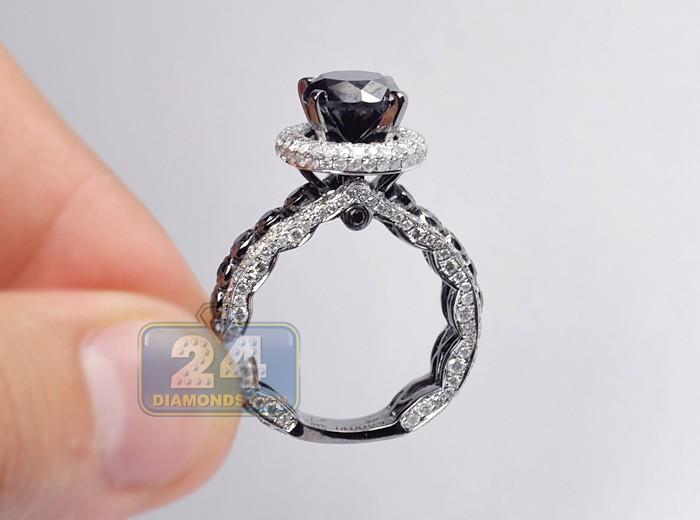 La s Luxury Black Diamond Engagement Ring 5 21 ct 14K Gold