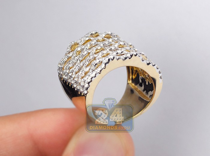 14k yellow gold ct diamond multi row womens wide ring. Black Bedroom Furniture Sets. Home Design Ideas