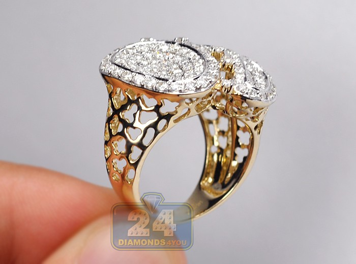 14k Yellow Gold 2 46 Ct Diamond Womens Pave Cocktail Ring
