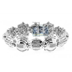 14K White Gold 5.52 ct Diamond Mens Link Bracelet 8 Inches