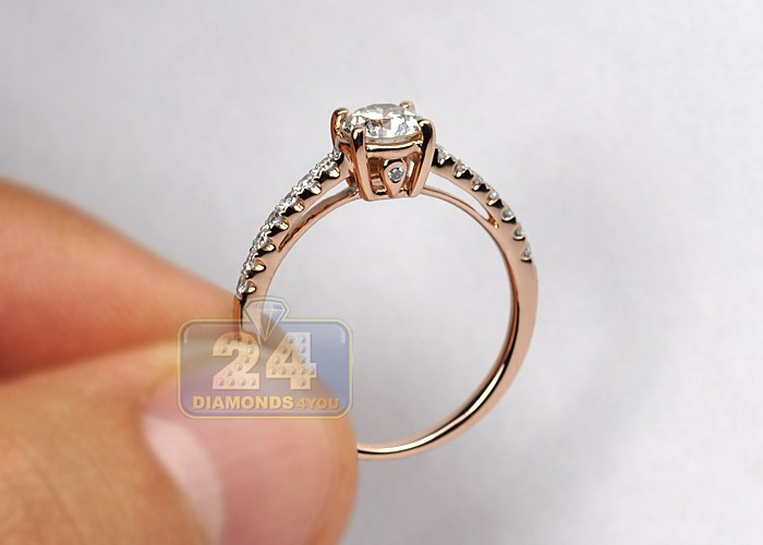 14K Rose Gold 1 00 ct Diamond Womens Engagement Ring