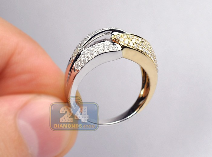 14k Two Tone Gold 0 66 Ct Diamond Womens Double Link Band Ring
