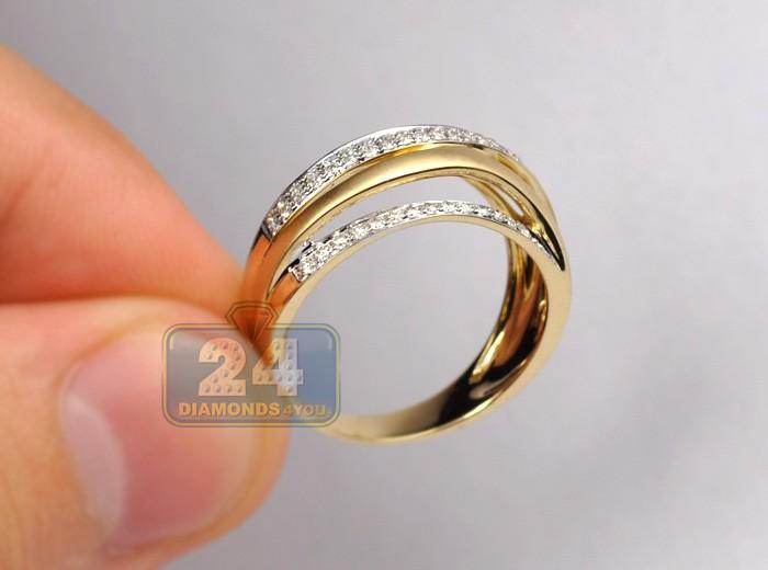 14k Yellow Gold 0 44 Ct Diamond Womens Matte Multi Band Ring