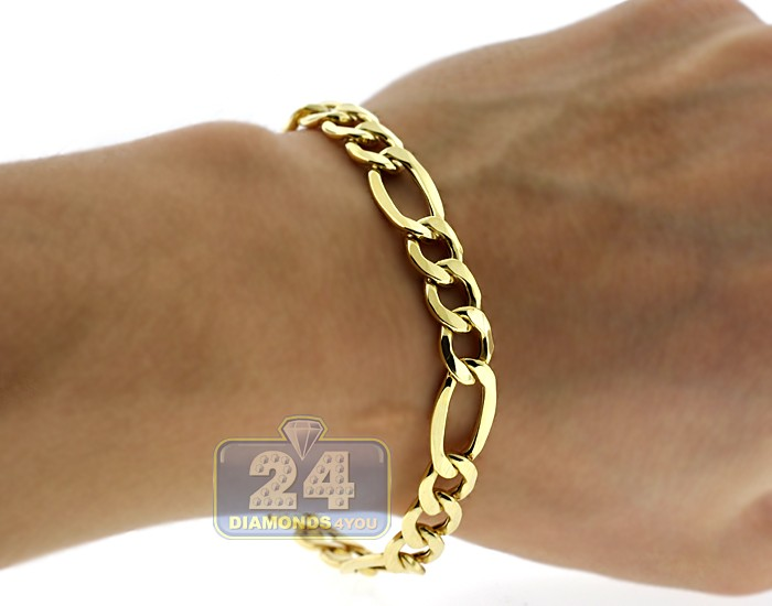 10k Yellow Gold Figaro Link Mens Bracelet 8 Mm 8 5 Inches